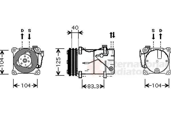 Compresseur, climatisation - VAN WEZEL - 5900K119
