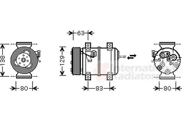 Compresseur, climatisation - VAN WEZEL - 5900K120