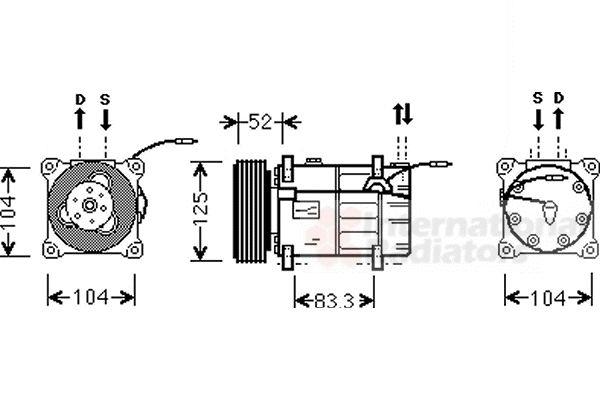 Compresseur, climatisation - VAN WEZEL - 5900K122