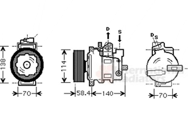 Compresseur, climatisation - VAN WEZEL - 5800K265
