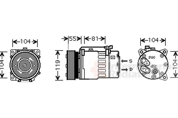 Compresseur, climatisation - VAN WEZEL - 5800K270