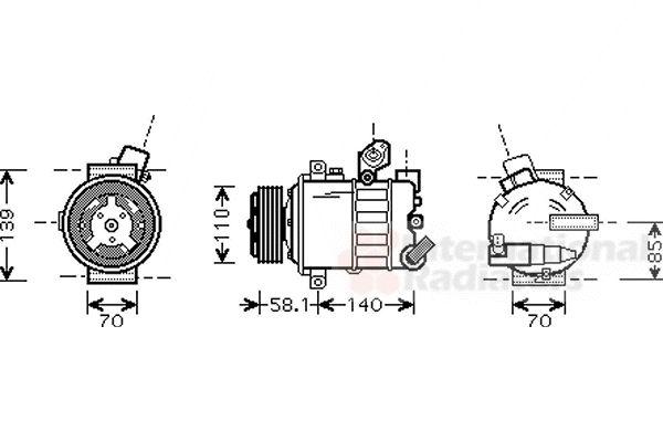 Compresseur, climatisation - VAN WEZEL - 5800K285