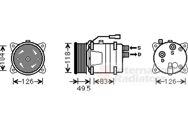 Compresseur, climatisation - VAN WEZEL - 5800K303