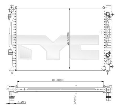 Radiateur, refroidissement du moteur - TYC - 702-0003