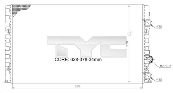 Radiateur, refroidissement du moteur - TYC - 702-0023