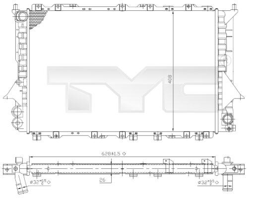 Radiateur, refroidissement du moteur - TYC - 702-0028