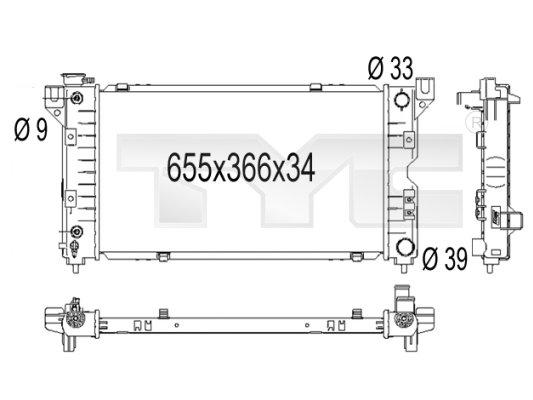 Radiateur, refroidissement du moteur - TYC - 704-1001