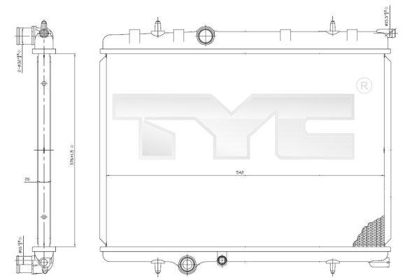 Radiateur, refroidissement du moteur - TYC - 705-0028