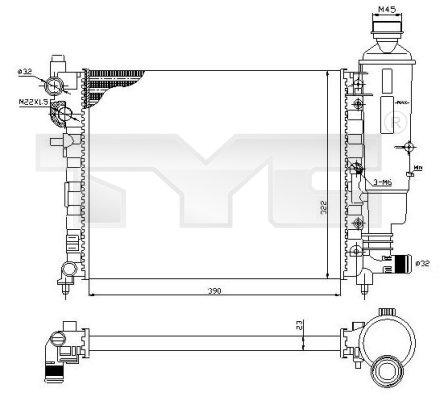 Radiateur, refroidissement du moteur - TYC - 705-0032