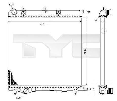 Radiateur, refroidissement du moteur - TYC - 705-0068