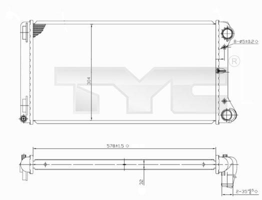 Radiateur, refroidissement du moteur - TYC - 709-0002