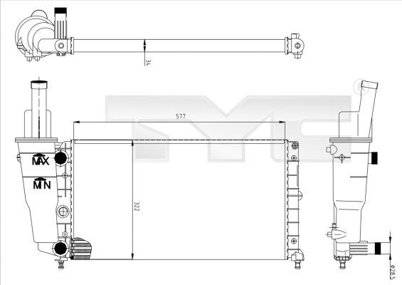 Radiateur, refroidissement du moteur - TYC - 709-0005