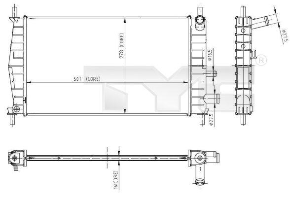 Radiateur, refroidissement du moteur - TYC - 710-0025