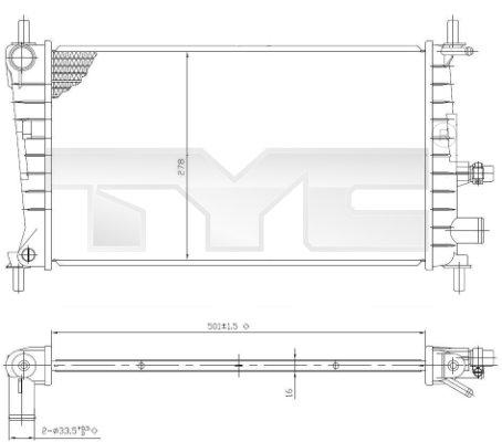 Radiateur, refroidissement du moteur - TYC - 710-0026
