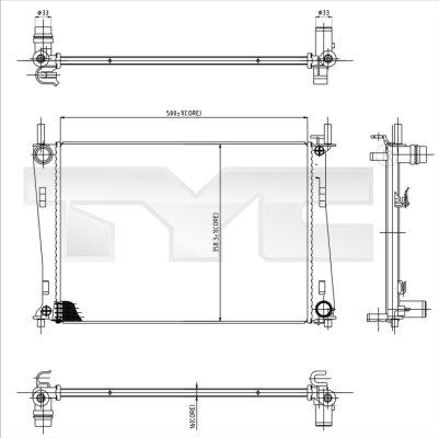 Radiateur, refroidissement du moteur - TYC - 710-0031