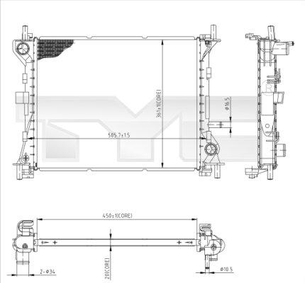 Radiateur, refroidissement du moteur - TYC - 710-0041