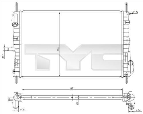 Radiateur, refroidissement du moteur - TYC - 710-0047