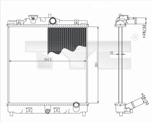 Radiateur, refroidissement du moteur - TYC - 712-0052
