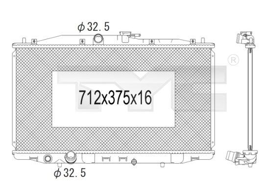 Radiateur, refroidissement du moteur - TYC - 712-1004