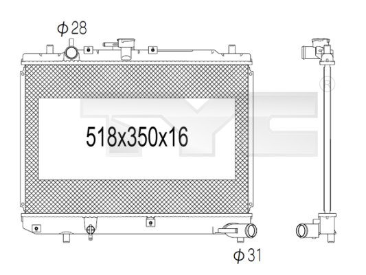 Radiateur, refroidissement du moteur - TYC - 720-1001