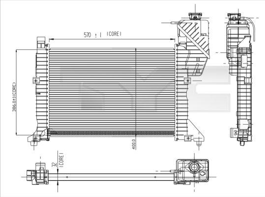 Radiateur, refroidissement du moteur - TYC - 721-0003