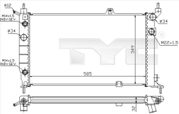 Radiateur, refroidissement du moteur - TCE - 99-725-0002