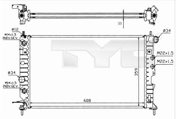 Radiateur, refroidissement du moteur - TYC - 725-0004-R