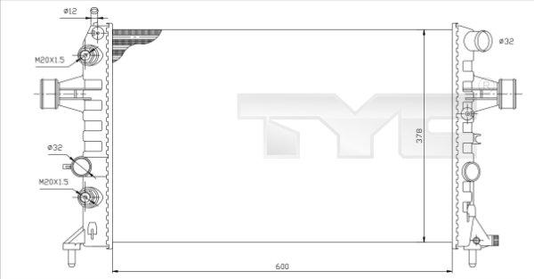Radiateur, refroidissement du moteur - TYC - 725-0006