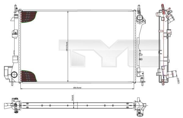 Radiateur, refroidissement du moteur - TYC - 725-0010