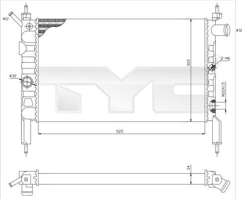 Radiateur, refroidissement du moteur - TYC - 725-0018