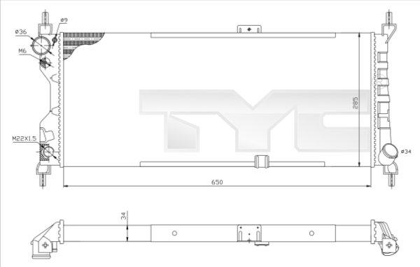 Radiateur, refroidissement du moteur - TYC - 725-0019-R