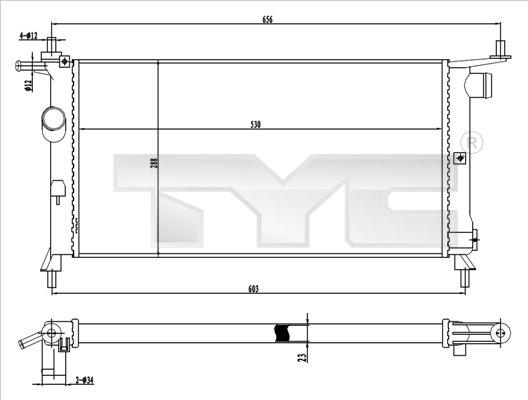 Radiateur, refroidissement du moteur - TYC - 725-0020