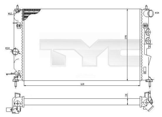 Radiateur, refroidissement du moteur - TYC - 725-0027-R