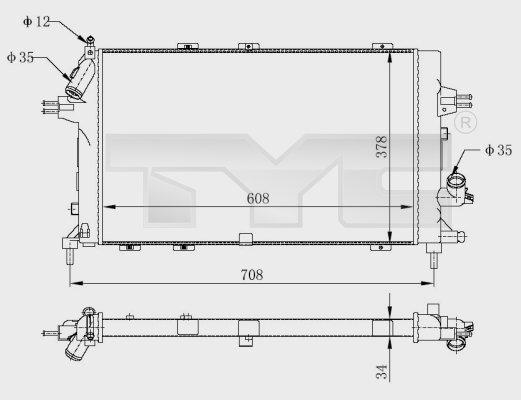 Radiateur, refroidissement du moteur - TYC - 725-0028-R