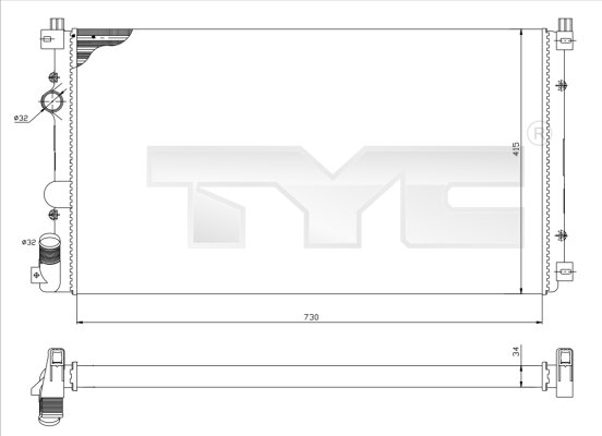 Radiateur, refroidissement du moteur - TYC - 725-0029