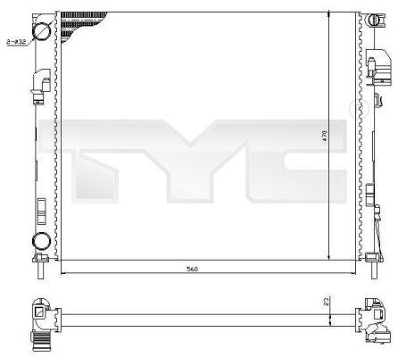 Radiateur, refroidissement du moteur - TYC - 725-0031