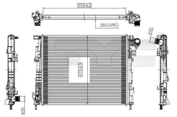 Radiateur, refroidissement du moteur - TYC - 725-0032