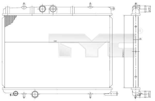 Radiateur, refroidissement du moteur - TYC - 726-0006
