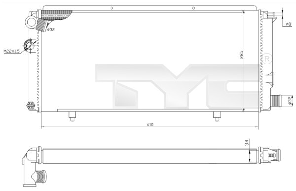 Radiateur, refroidissement du moteur - TYC - 726-0014-R