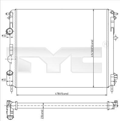 Radiateur, refroidissement du moteur - TYC - 728-0010