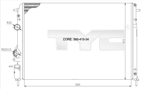Radiateur, refroidissement du moteur - TYC - 728-0011