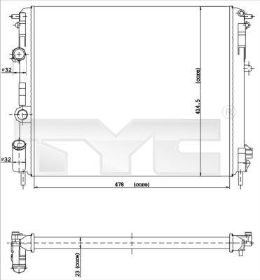 Radiateur, refroidissement du moteur - TYC - 728-0015