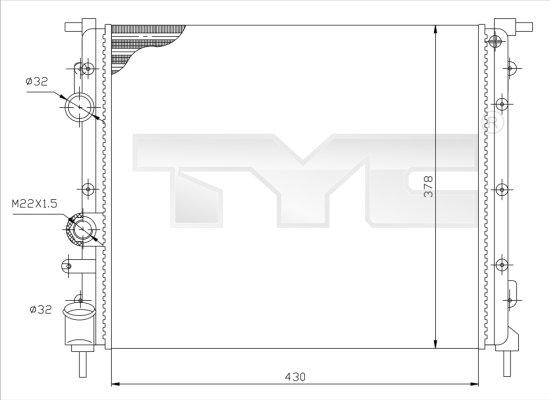 Radiateur, refroidissement du moteur - TYC - 728-0026