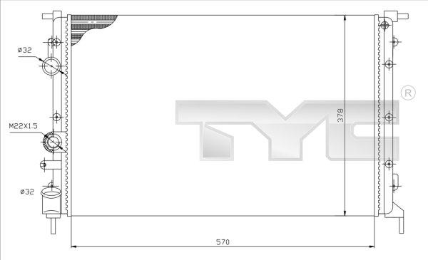 Radiateur, refroidissement du moteur - TYC - 728-0027