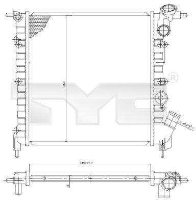 Radiateur, refroidissement du moteur - TYC - 728-0029