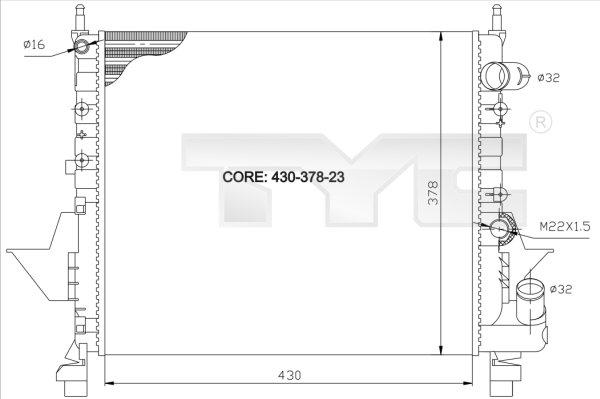 Radiateur, refroidissement du moteur - TYC - 728-0035
