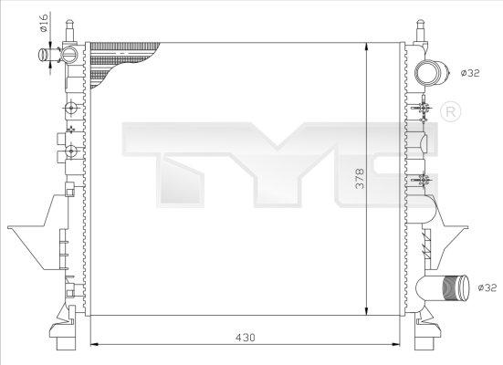 Radiateur, refroidissement du moteur - TYC - 728-0041