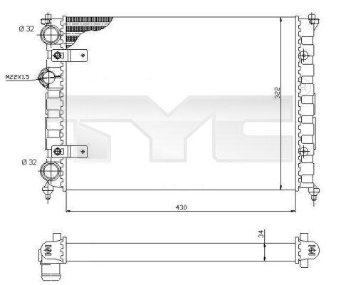 Radiateur, refroidissement du moteur - TYC - 731-0004
