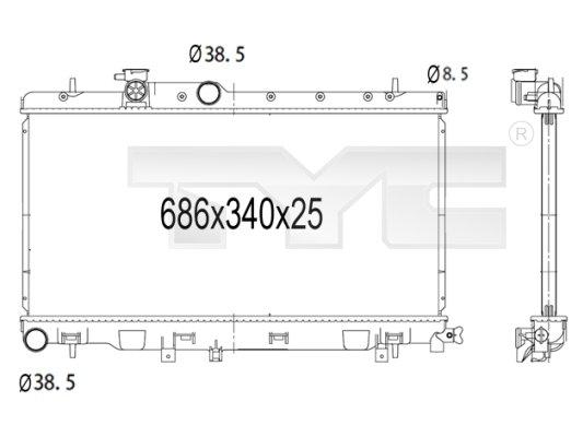 Radiateur, refroidissement du moteur - TYC - 734-1007