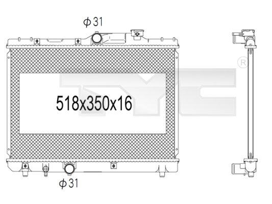 Radiateur, refroidissement du moteur - TYC - 736-1005